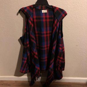 JOLT PLaid hooded waterfall vest